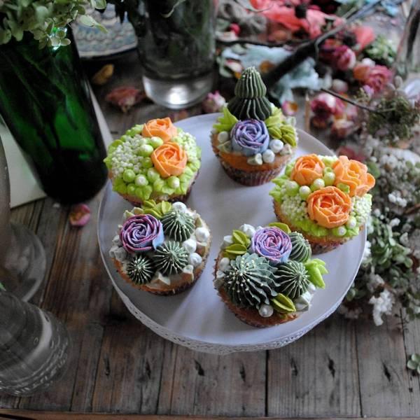 Капкейки с кактусами и суккулентами. Подробная инструкция. Капкейки, Кондитерская, Рецепт, Видео, Длиннопост