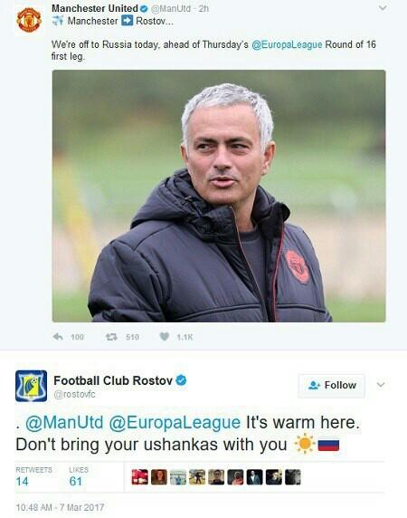 «Ростов» посоветовал «Манчестер Юнайтед» не брать на матч Лиги Европы ушанки
