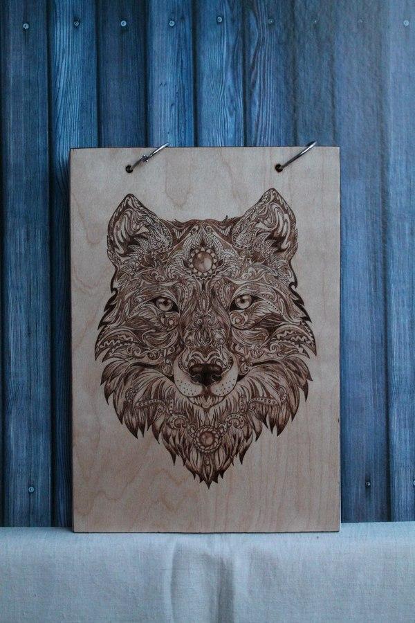 Блокнот для рисования, выжигание блокнот, альбом, рисование, выжигание, Волк, ручная работа, фанера, длиннопост
