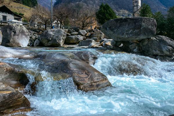 Долина реки Верзаска Швейцария, Река, Красота, Природа, Горы
