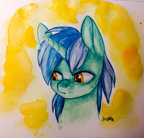 Даже Лире грустно от этого фона.... My little pony, Lyra Heartstrings, Арт