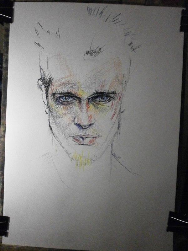Портрет Рисунок, Процесс, Графика, Творчество, Тайлер, Бойцовский клуб, Длиннопост
