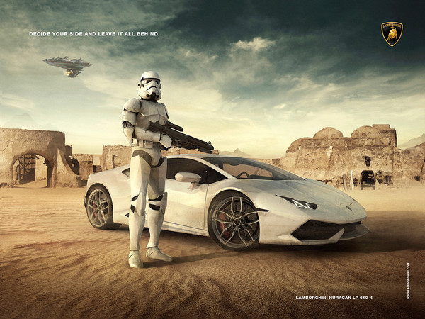 Lamborghini Advertising арт, star wars, Штурмовик, дарт вейдер, Фазма, ALLAN PORTILHO, длиннопост