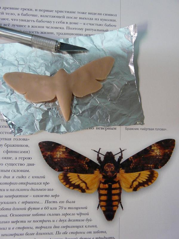 """Бражник """"Мертвая голова"""". Декор бокалов. бабочка, бабочка Мертвая голова, бокал, полимерная глина, своими руками, рукоделие, бокал с декором, длиннопост"""