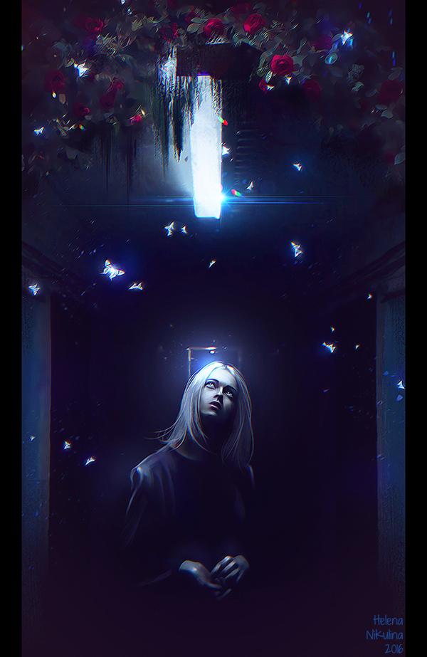 The light in the darkness. Арт, Свет, Тьма, Бабочка, Растения, Елена Никулина, Коридор, Женщина