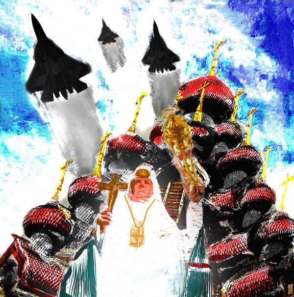 Культурно-технологический путь этапом по религии арт, церковь, истребитель, ультразвуковое кадило, святость, Россия