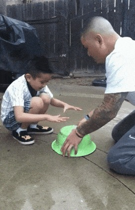 Сынок, лови птичку! Она прямо под этим тазом!