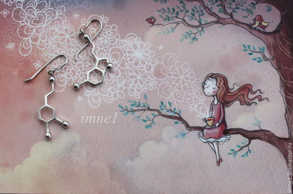Чем горжусь и первый печальный опыт ))  Идея подарка для химиков, медиков и просто любимых) химия, молекулы, дофамин, Серотонин, подарок девушке, подарок, серьги, кулон, длиннопост