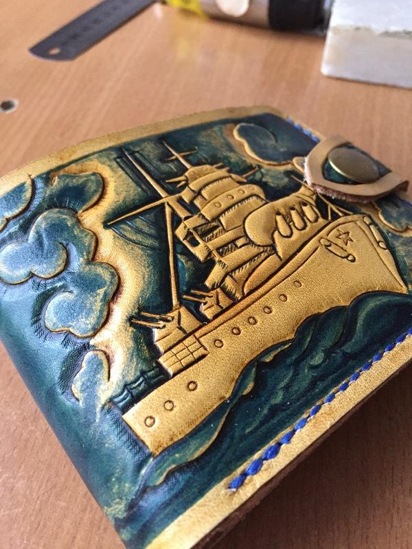 Портмоне эксперимент) кошелек, кожаный портмоне, изделия из кожи, океан, якорь, подарок парню, длиннопост