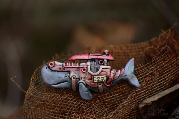 Корабль-кашалот. Подвеска из полимерной глины.