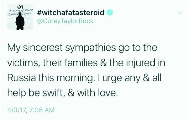 Corey Taylor, солист группы Slipknot и Stone Sour, выразил соболезнования россиянам в связи с терактом в питерском метро. Соболезнования, Теракт, Corey Taylor, Slipknot, Stone Sour, Санкт-Петербург, Instagram