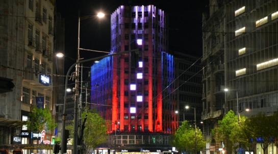 Здания Белграда окрасились в цвета флага РФ в память о жертвах взрыва Санкт-Петербург, Теракт, Сербия, Политика, Соболезнования
