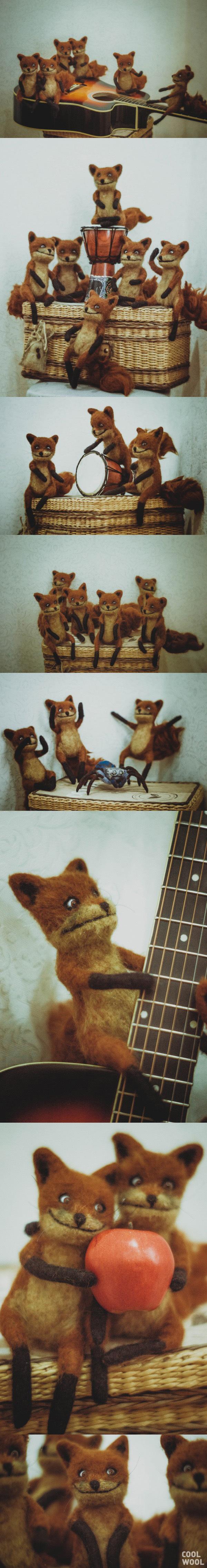 Мои упоротые лисички из шерсти Ручная работа, Упоротый лис, Шерсть, Сухое валяние, Длиннопост