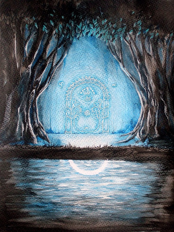 """Врата Мории, """"The Lord Of The Rings"""" Иллюстрации, Акварель, Арт, Мория, Властелин колец, Врата"""