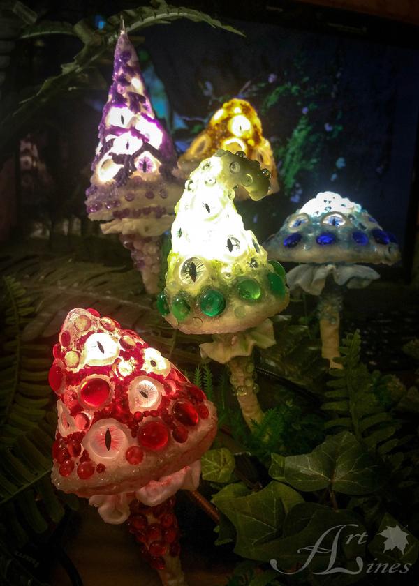 Светильники с глазастыми грибами светильник, ночник, грибы, лес, глаза, ручная работа, handmade, длиннопост