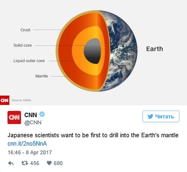 Японские ученые собрались пробурить земную кору и достичь мантии События, Общество, Япония, Мантия, Земля, Кора, Бурение, Интерфакс, Длиннопост