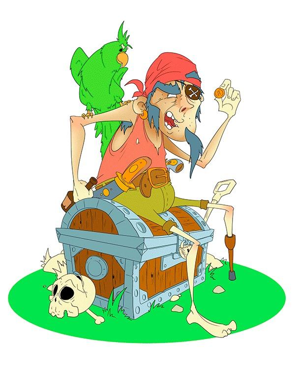 Пиастры!!! Пираты, 2d, Photoshop, Рисунок, Мультфильмы, Gamedev, Попугай, Гифка, Длиннопост