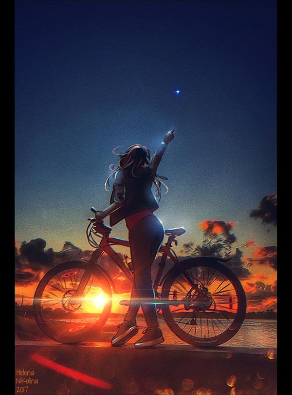 Venus. арт, Елена Никулина, закат, венера, велосипед, женщина