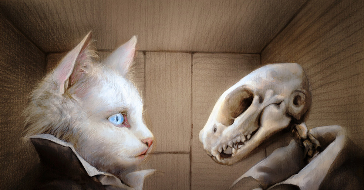 schrodinger's cat Product features water, one of them reveals a live cat inside the box, while the other.