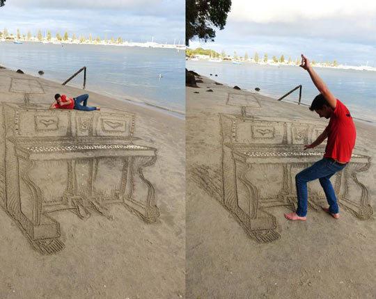 Искусство перспективы на пляже