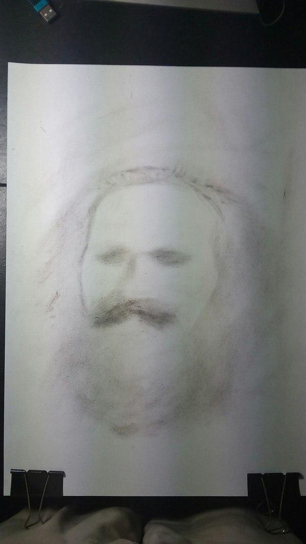 Смотрите какой он клевый получился! карл, Маркс, сухая кисть, рисунок, Портрет, борода, арт, творчество, длиннопост
