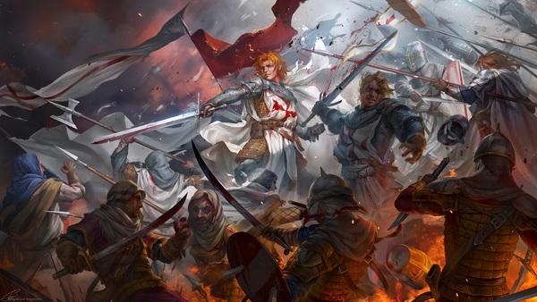 Crusade time Crusader, Templar, Owari no seraph, Crowley Eusford, Тамплиеры, Крестоносцы, Фан-Арт, Deus vult, Гифка