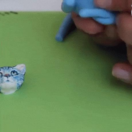 О происхождении синих котов в двух частях полимерная глина, кот, лепка, творчество, гифка