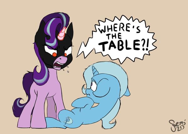 Где стол?! My little pony, Mlp season 7, Starlight Glimmer, Trixie, The dark knight rises
