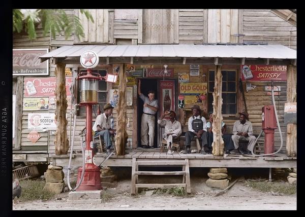 1939 год «Олд Голд» — провинциальный магазинчик где-то в США (колоризация)