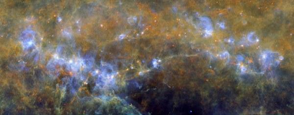 Филаменты молекулярного облака RCW 106 космос, космическая пыль, галактика, вселенная, астрономия