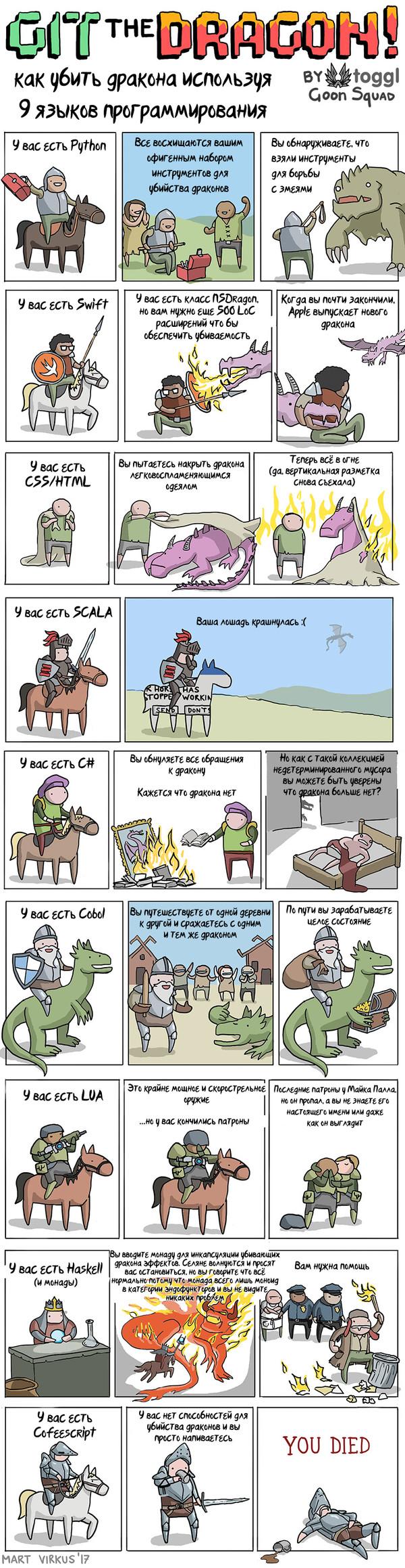 Как убить дракона Комиксы, Mart Virkus, Дракон, Языки программирования, Длиннопост