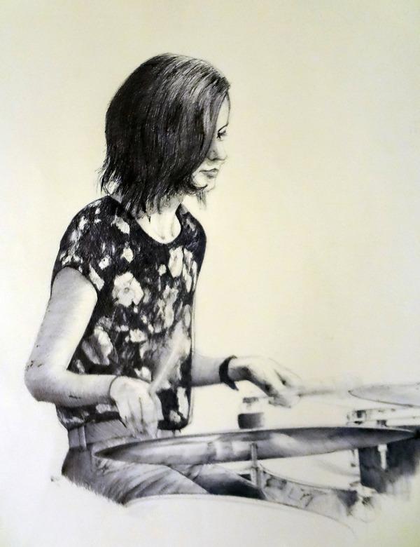 Зарисовка шариковой ручкой рисунок шариковой ручкой, арт, портрет, барабаны