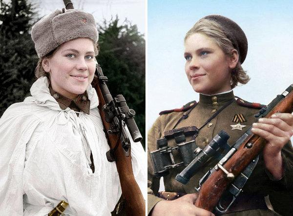 Цветные фото советских снайперш, от которых дрожали нацисты Великая Отечественная война, Женщина снайпер, Старое фото, Длиннопост