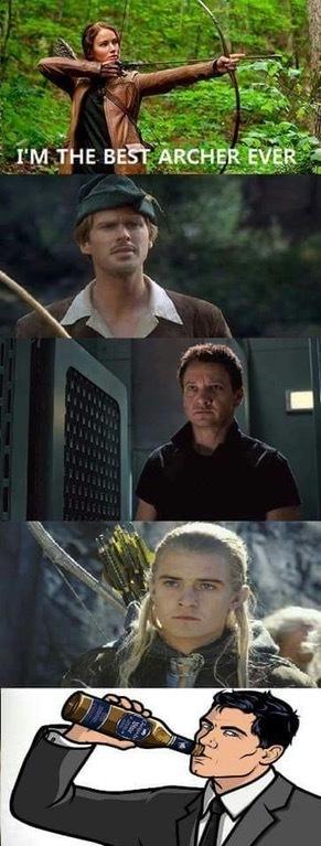 Лучший лучник в мире Archer, Робин Гуд, Marvel, Соколиный глаз, Голодные игры, Леголас