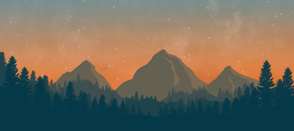 Flat landscape. Навеяно играми Long Dark и Firewatch Flat landscape, Плоский пейзаж, Компьютерная графика, Пейзаж, Рисование, Photoshop, Рукожоп