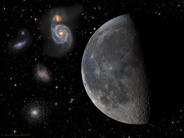 Угловые размеры Луны, планет и объектов глубокого космоса астрофото, космос, Луна, галактика, туманность, коллаж, телескоп, планета