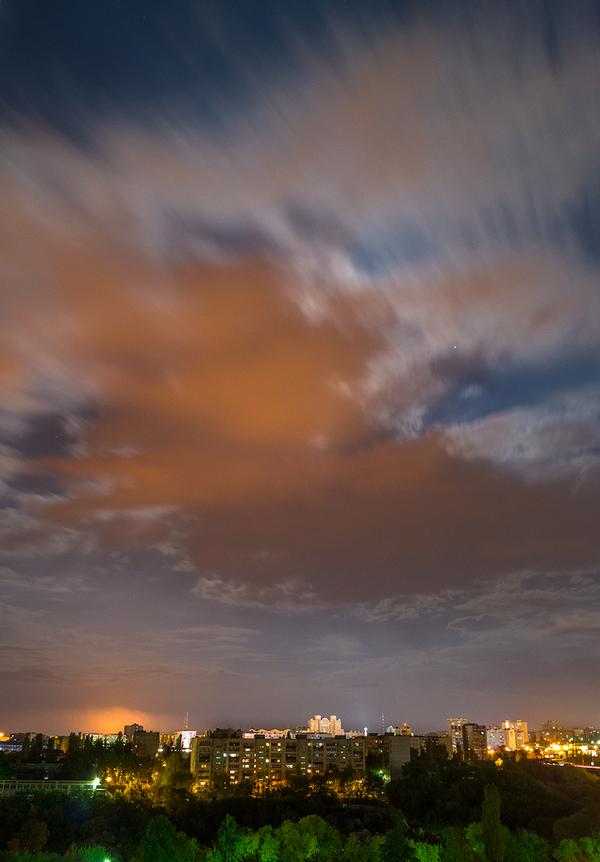 Огни НЛМК на облаках фотография, ночь, Липецк, облака, город, НЛМК
