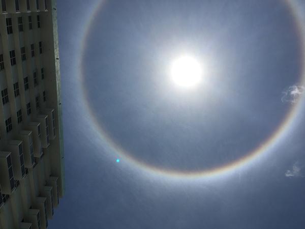 Радуга вокруг солнца (гало) Радуга, Природа, Солнце, Небо