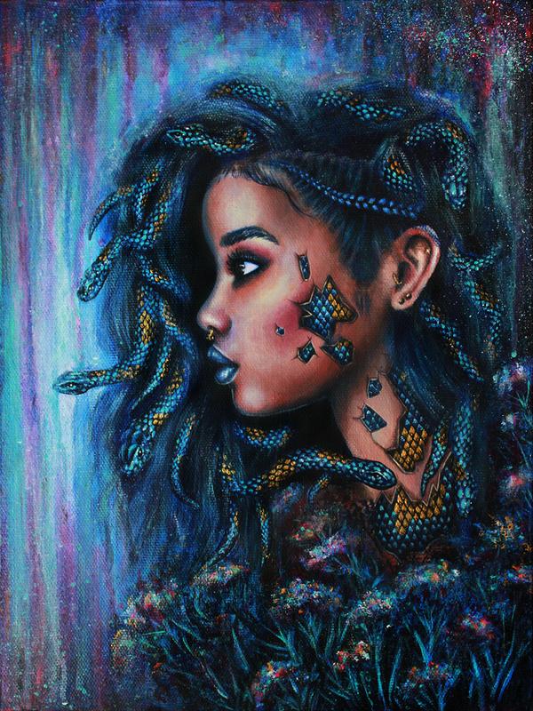 Заклинательница змей рисунок, арт, картина, змея, девушки, Портрет, творчество, акрил