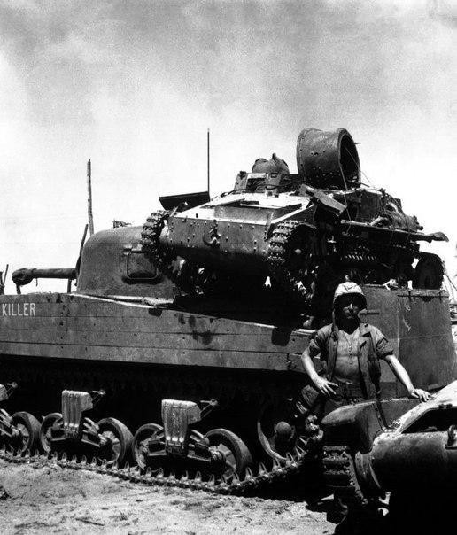 """Танк """"Шерман"""" тащит в логово добычу(лёгкий японский танк)"""