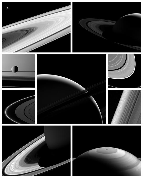 Коллаж с последними фотографиями Сатурна и его спутников Кассини, Сатурн, космос