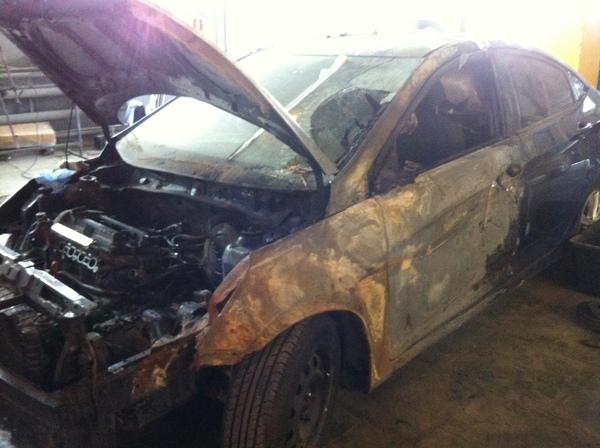 Восстановление после огня Hyundai Solaris, Кузовной ремонт, Было-Стало, Длиннопост