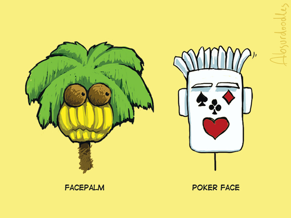 Facepalm vs. poker face