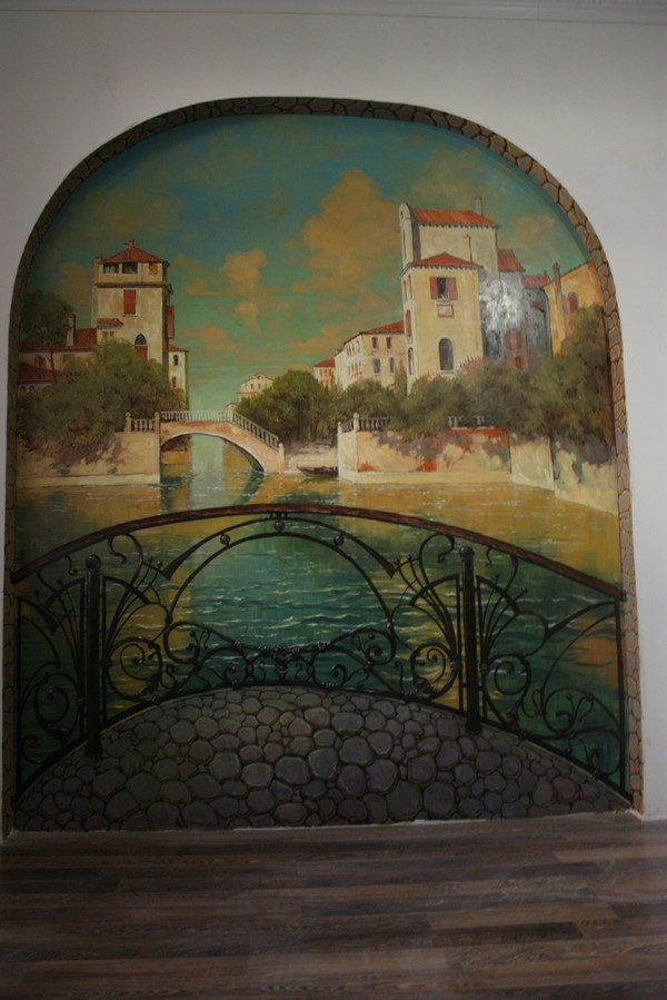 Пейзаж маслом на стеночке в 2х2. монументалистика, настенная живопись, пейзаж маслом, длиннопост
