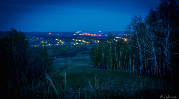 Ночной вид на село. Ночь, село, Сулеево, Татарстан, Россия, май, 2017