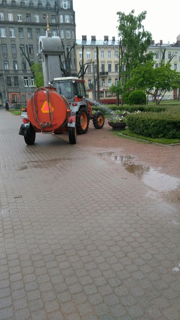 Питер. Поливаем цветы в дождь не выходя из кабины. Санкт-Петербург, Дождь, лучший работник, цветы, погода, новые технологии