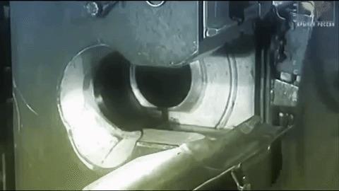 Работа электромеханического досылателя в танке Т-10А. Оружие, Танки, т-10а, Технологии, Гифка
