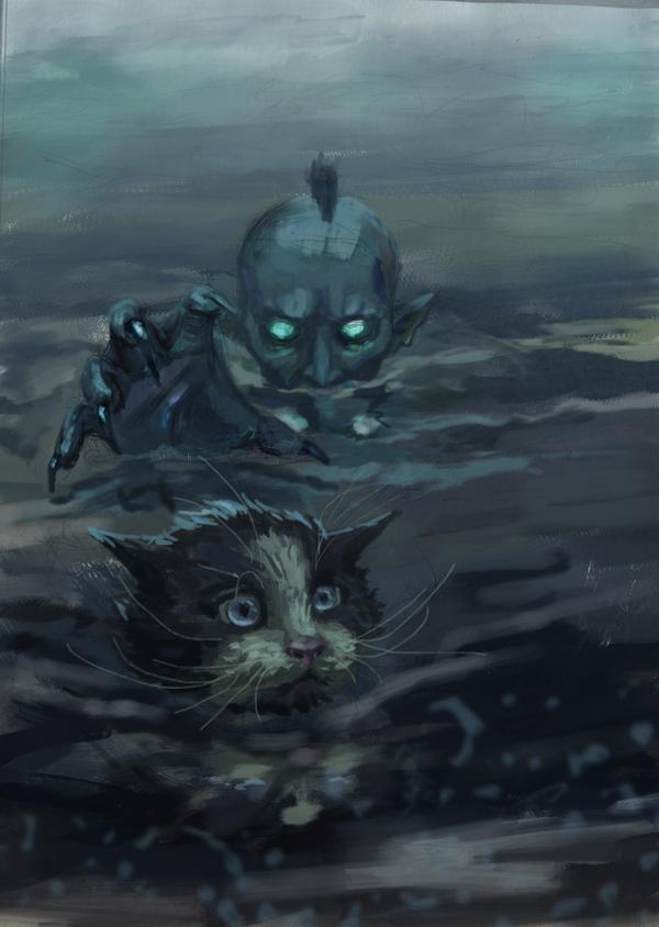 Я водяной.. Ведьмак, фан-арт, ведьмак арт, арт, утопец, кот