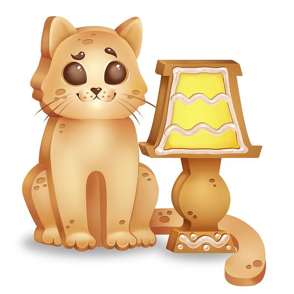 Котоламповая печенька кот, арт, печенька, рисунок