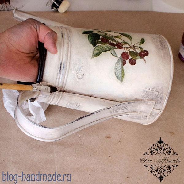 Декор лейки из ikea в технике декупаж. Часть 2 декупаж, декупаж лейки, декор лейки, рукоделие с процессом, длиннопост